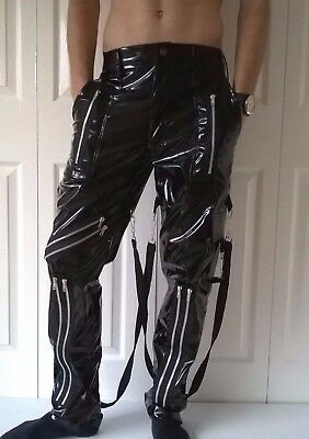 "Black Pvc Fetish Punk Rock Goth Bondage Trousers 28"" 30"" 32"" 34"" 36"""