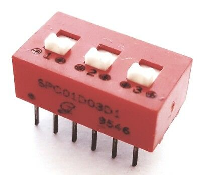 DIP Switch 3 Position Raised Slide150mA 30V DPST Grayhill 78F03ST (15 pcs)