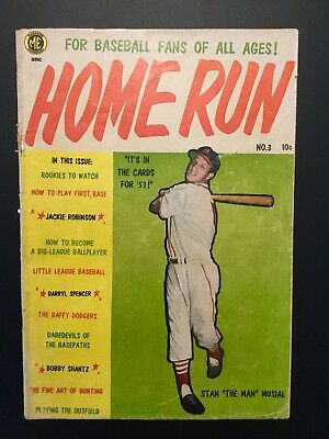 """1953 HOME RUN Mag NO.3 """"STAN THE MAN MUSIAL"""" ON THE COVER  COMIC FORMAT RARE"""
