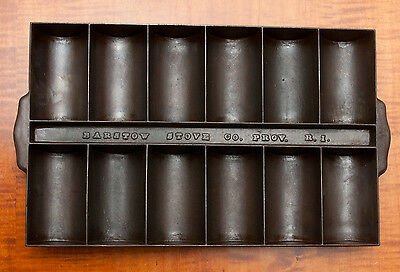 Antique Gate Mark Cast Iron Barstow Stove & Co. Prov. Ri. 12 Cup French Roll Pan