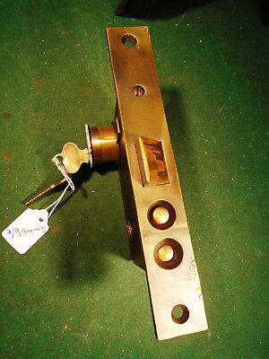 """VINTAGE PUSH BUTTON BRASS ENTRY MORTISE LOCK w/KEY  6 7/8"""" FACEPLATE (9783-3)"""