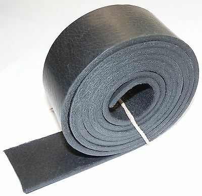 "4MM THICK ITALIAN BLACK GRAINY VEG TAN LEATHER BELT BLANKS 150cm  59"" INCH"