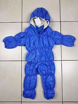 Boys Girls Baby Snowsuit Pramsuit Quilted Light Padded Waterproof Hooded Blue