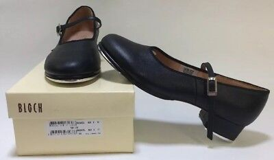 "BLOCH S00302L Mary Jane Tap Shoes Black Leather Adult Sizes 1"" Heel Buckle Strap"