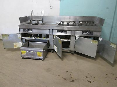 """""""FRYMASTER"""" COMMERCIAL HD 4 BANKS ELECTRIC FRYERS w/AUTO LIFT & FILTRATION UNIT"""