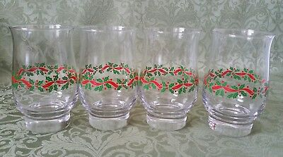 4 Arbys Christmas Holiday Holly Berry Ribbon Tumbler Glasses  - Clear Rims