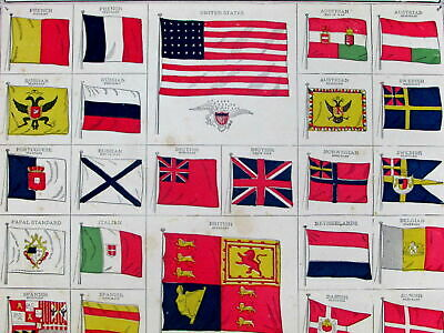 World flags United States U.S. China Persia Russia Turkey Papal 1884 old print
