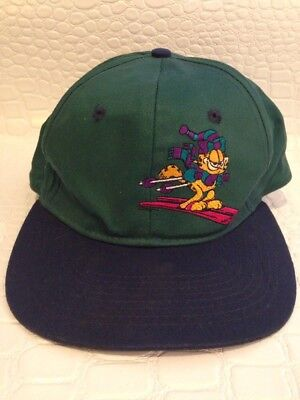 Vintage 90's Garfield Skiing Cartoon Character Embroidered Snapback Hat Cap Paws