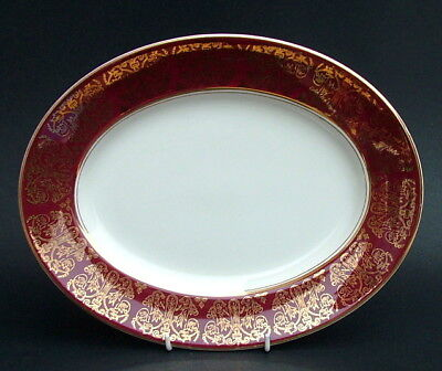 Vintage Woods Wood & Sons Alpine White Burgundy Pattern Oval Platter 30cm in VGC