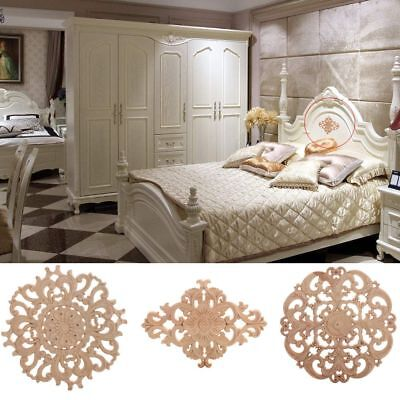 Floral Wood Carved Decal Appliques Frame Wall Doors Furniture Woodcarving Decor