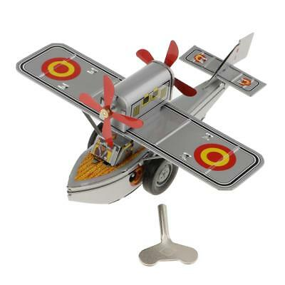 Vintage Propeller Aircraft Model Tin Toy Collectible Gift with Wind-Up Key