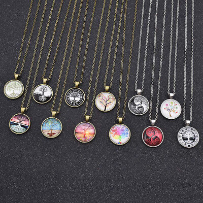 Tree Of Life Style Heart Taiji Photo Cabochon Glass Tibet Necklace Pendant Chain