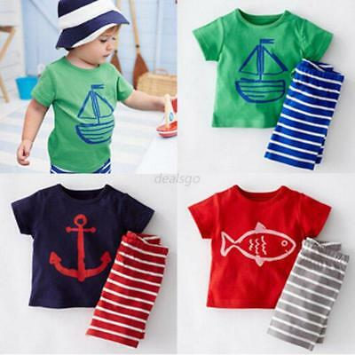 2PCS Toddler Baby Boy Short Sleeve Top T-shirt+Striped Shorts Outfit Set Clothes