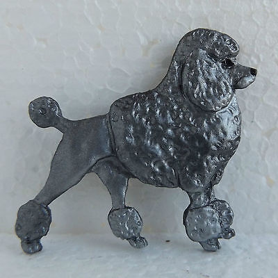 Poodle Blue Grey Resin Brooch Classic Cut Dog Breed Jewellery Handpainted