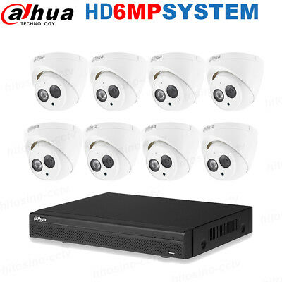 Dahua 8CH Metal 6MP Built-in Mic Security System NVR4208-8P-4KS2 IPC-HDW4631C-A