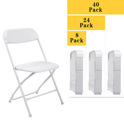 (8,24,40 PACK) Commercial Wedding Quality Stackable Plastic Folding Chairs White