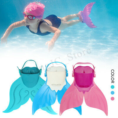 Kids Mermaid Tail Swimmable Monofin Mono Swimming Fin Foot Training Flipper Shoe