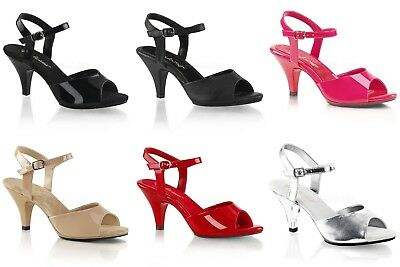 PLEASER Belle-309 Black Nude Silver Pink Red Strap Party Sandals Heels Size 4-15