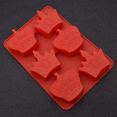 6-Imperial Crown Silicone Mold Cake Decor Chocolate Sugarcraft Baking Mould