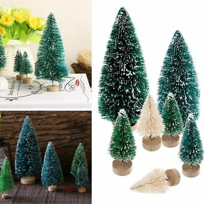 5pcs Mini Sisal Bottle Brush CHRISTMAS Tree Santa Snow Frost Village Putz House