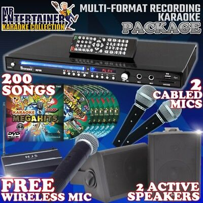 Home Karaoke Party Package with FREE Wireless Mic. Player/200 Songs/Speakers