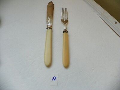 Vintage  Fish Knife And Fork  Marked Jr E *+P  Silverplate  Old  With Design