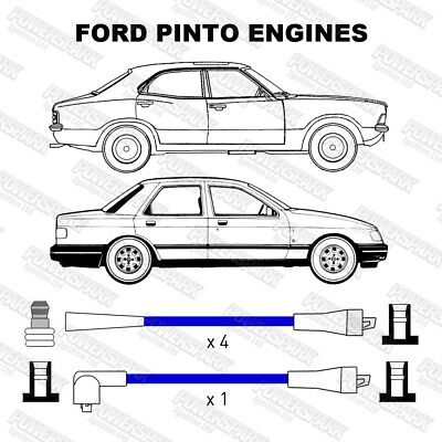 Ford Pinto Engine 4 Cylinder Performance Double Silicone Blue 8mm HT Leads