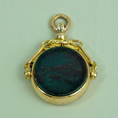 Antique Edwardian 9K Gold Bloodstone & Onyx Swivel Fob Chester 1908 - 8 Grams