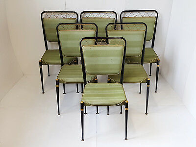 Jean Royère : Suite 6 Chairs 1950 Steel Vintage 50S Rockabilly Years 50