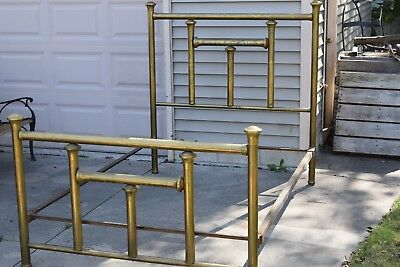 Antique Vintage Steampunk Shabby Original Patina Brass Large Post Full Bed