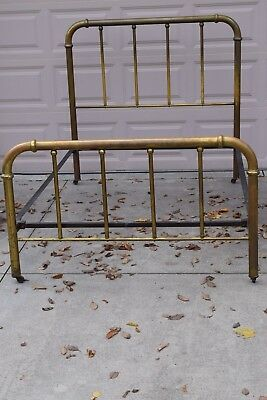 Antique Vintage Steampunk Shabby Original Patina Brass Bed Full Double