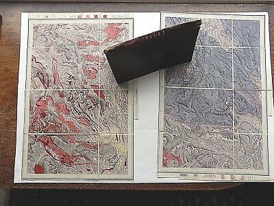 19thC Handcoloured Geological 2 Maps Wales Snowdon Old Antique Slipcase Geology