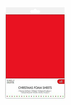 Dovecraft Christmas Basics A4 Foam 8 Sheet Multipack - Red White Green Brown