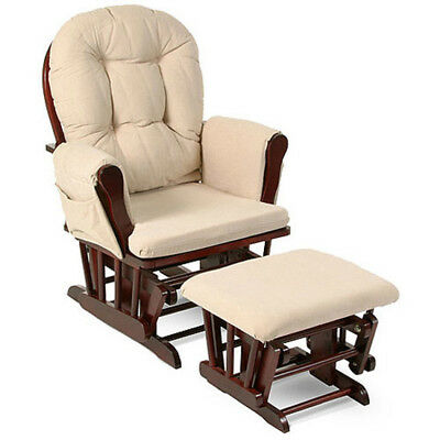 Glider Rocker Nursery Bowback Beige Cushions Ottoman Chair Rocking Seating Baby
