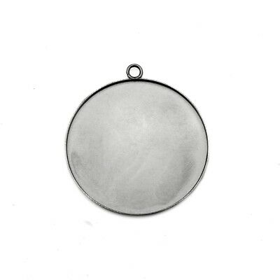10 x Stainless Steel 40mm Round Pendant Cabochon Bezel Settings