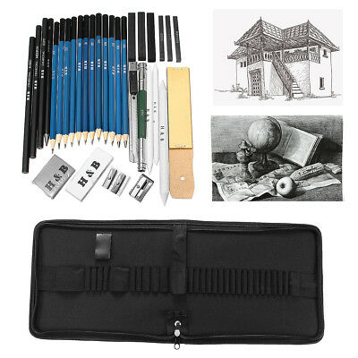 Drawing Sketch Set Charcoal Pencil Eraser Art Craft Painting Sketching Kit 32Pcs