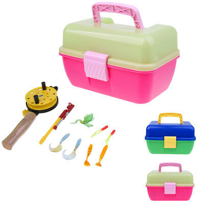 Portable Ice Fishing Rod Reel Winter Pole Gear Lures & Box for Children Kids