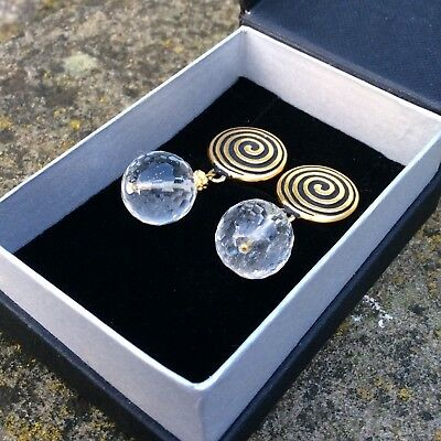 22ct gold plated Rock crystal Celtic spiral CLIP ON earrings.Irish made jewelry