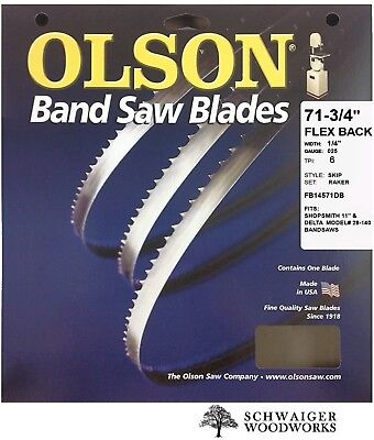 "Olson Band Saw Blade 71-3/4"" - 72"" inch x 1/4"", 6T, Delta 28-140, 11"" Shopsmith"