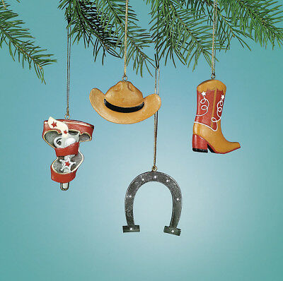 4 Cowboy BOOTS HORSESHOE GUN HOLSTER HAT Ornaments Christmas Tree Decorations