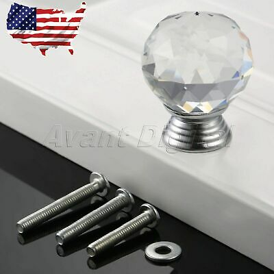 1.18in Round Knob Crystal Glass Clear Door Handle Cupboard Pull Cabinet US Stock