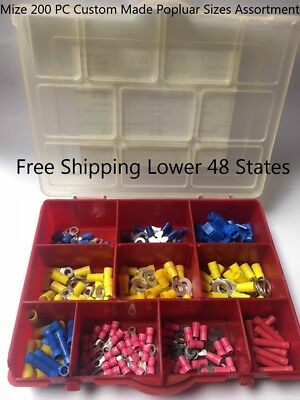 Mize USA 200 PC Mize Popular Size Wire Connectors Assortment Crimp Tap Terminals