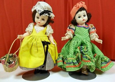 Lot 2 Vtg. Madame Alexander ALEX Bent Knee Dolls French & Brazil Free Shipping !