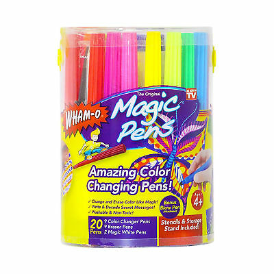 Magic Pens Markers As Seen on TV 20 Color Changing Pens Stencils & Storage