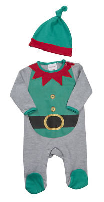 Baby Christmas Sleepsuit Babygrow Elf Dress Up with Hat Newborn upto 8lb