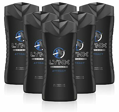 Lynx Attract For Him Shower Gel 6 X 250Ml Refreshing Body Wash Free Postage