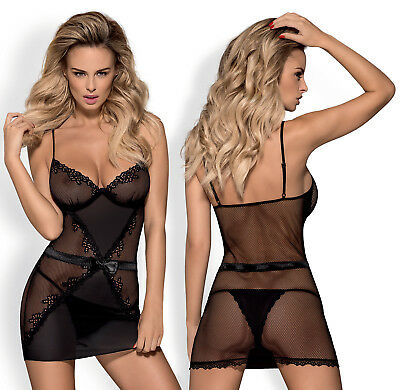 OBSESSIVE Cafelatte Luxury Super Soft Silky Chemise and Matching Thong Set