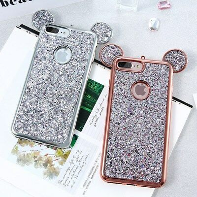 For Samsung iPhone X Cute Bling Rubber Case Soft TPU Hybrid Silicone Back Cover