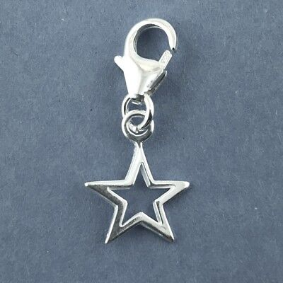 925 Sterling Silver Small Star Clip on Charm  Connecting Ring Soldered