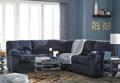 Westfield Modern Blue Microfiber Living Room Furniture Sofa Couch Sectional Set